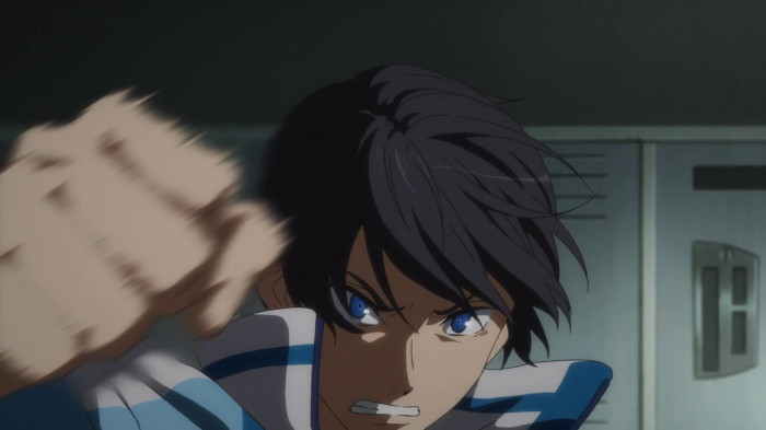 First time in show: an enraged Haruka Nanase